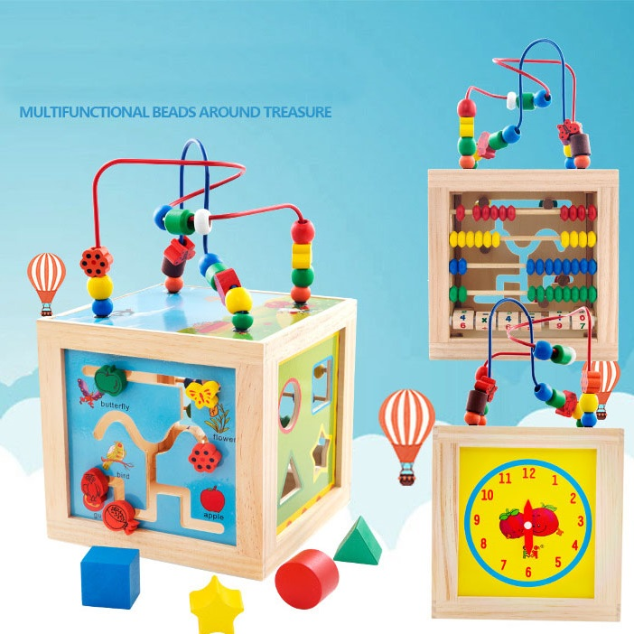 2017 New 5 in 1 Play Methods Baby Toys Children Kids Colorful Wooden Playing Funny Toy Large Around Beads Educational Toy Gifts new 1 pcs children baby solar power energy insect grasshopper cricket kids toy gift solar novelty funny toys