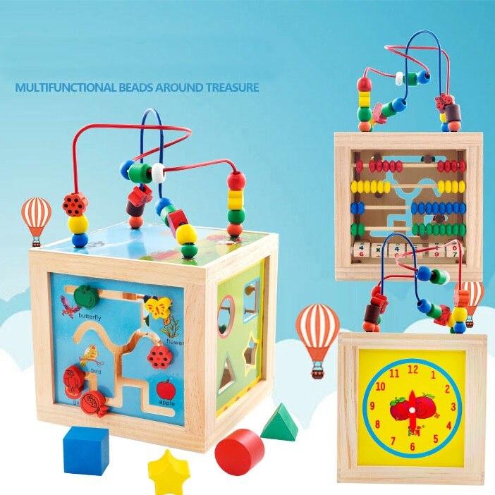 2019 Nouveau 5 dans 1 Jouer Méthodes Bébé Jouets Enfants Enfants Coloré En Bois Jouant Drôle Jouet Grand Autour Perles Éducatifs jouet Cadeaux