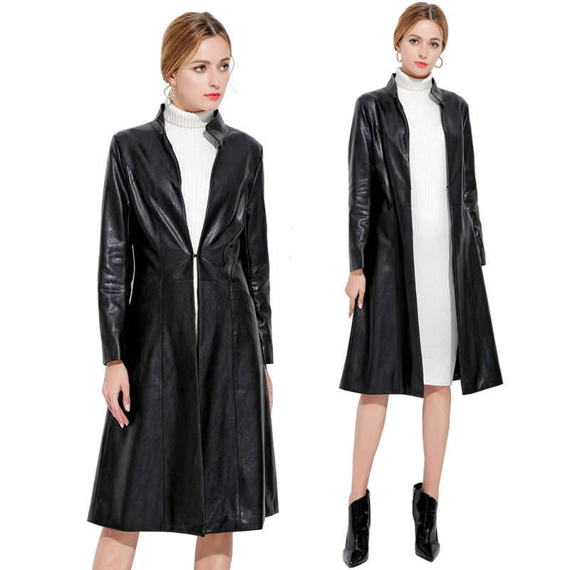 Black PU Leather Long Trench Coat 2019 New Autumn Winter Women PU Leather Windbreaker Slim Trench Coat Outerwear Plus Size 3XL