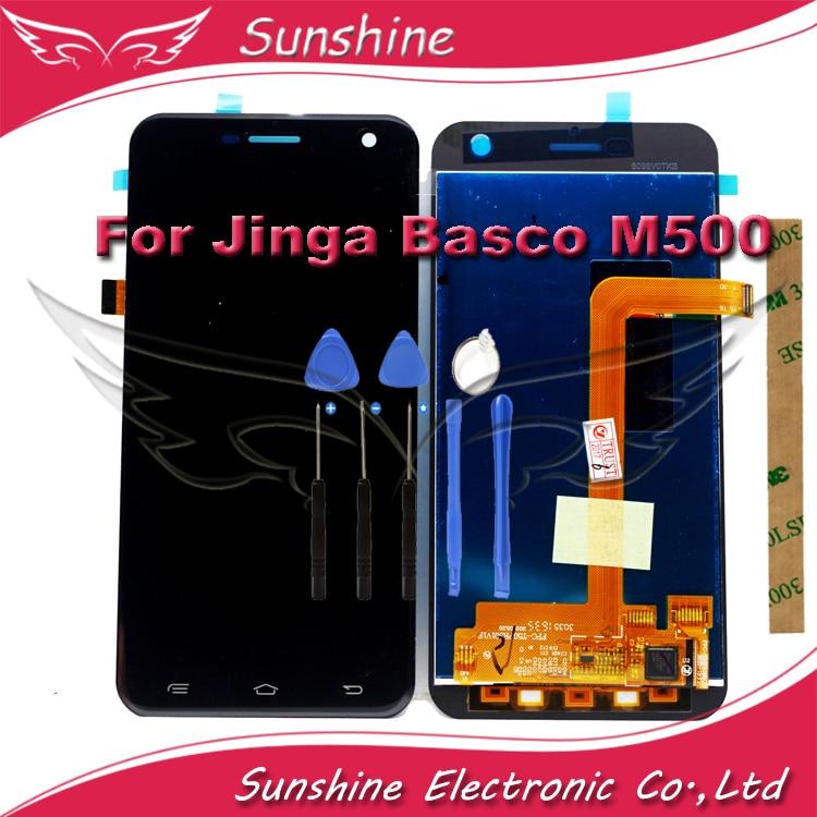 imágenes para Pantalla LCD Sensor Táctil Para Jinga Basco M500 M500 3G 4G LCD Ensamblaje de la Pantalla Pantalla Táctil Con las herramientas