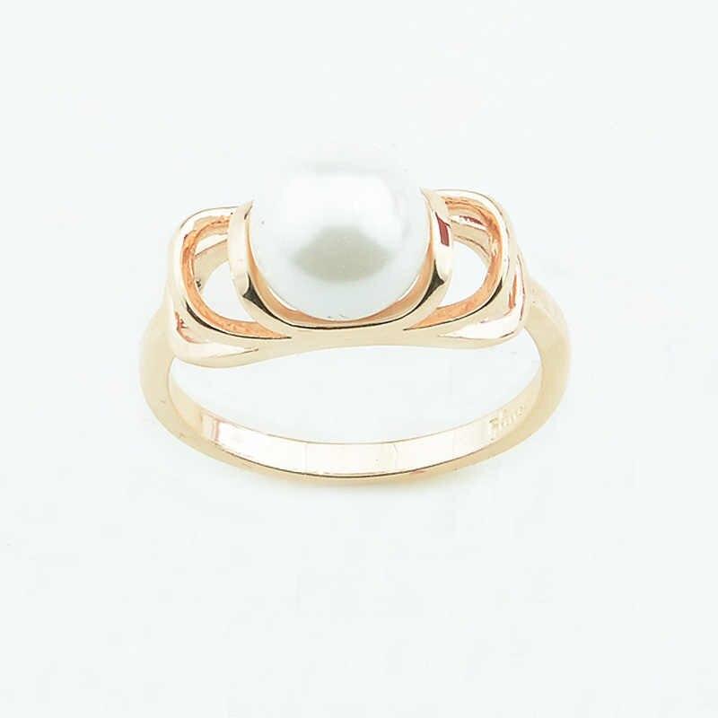 1e270f6d0f2b FJ женские мм 9 мм Широкие имитация жемчуга кольца 585 светло розовое  золото цвет круглый шар