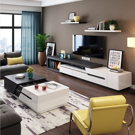 ensemble mobilier de salon avec panneau en bois avec meuble tv table basse tendance 2017 design moderne haut de gamme
