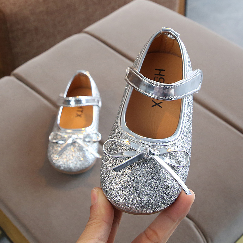Baby Girl Shoes Toddler Girl Shoes For Children's Footwear Princess Bling Bowtie Pink Child Shoes Gold Silver Dress Shoes