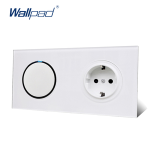 Image 2 - Wallpad L6 White 1 Gang 1 Way 2 Way Wall Light Switch With German Schuko SocketRandom Click Push Button Tempered Glass Panel