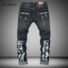 High Quality Mens Ripped Biker Jeans 100% Cotton blue Slim Fit Motorcycle Jeans Men Vintage Distressed Denim Jeans Pants For Men