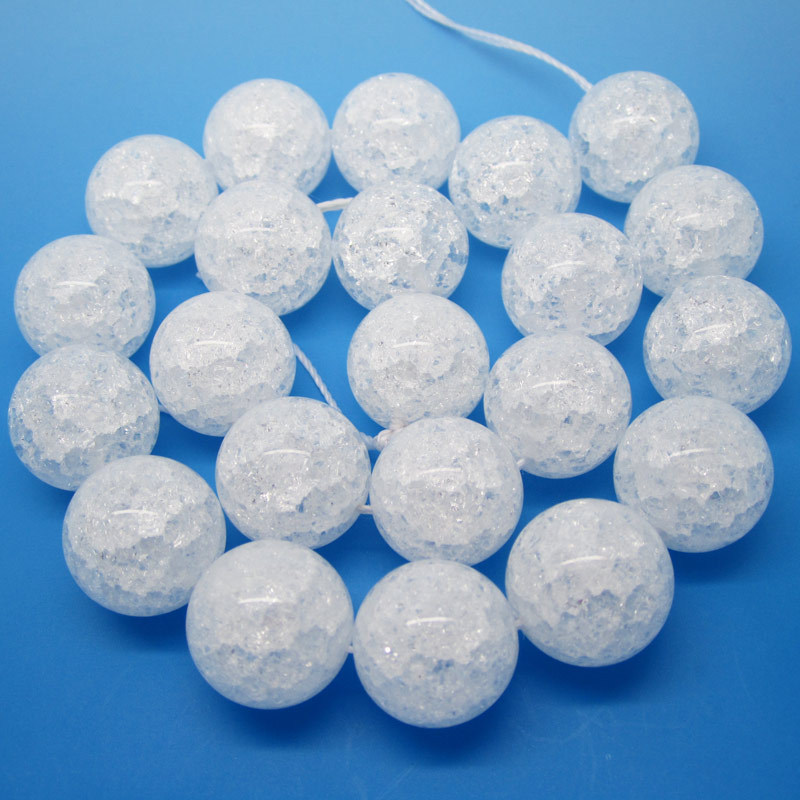 """Wholesale17mm Crackle Clear Quartz Round Beads 15""""/38cm ,Beads For DIY Jewelry making ,We provide mixed wholesale for all items!"""