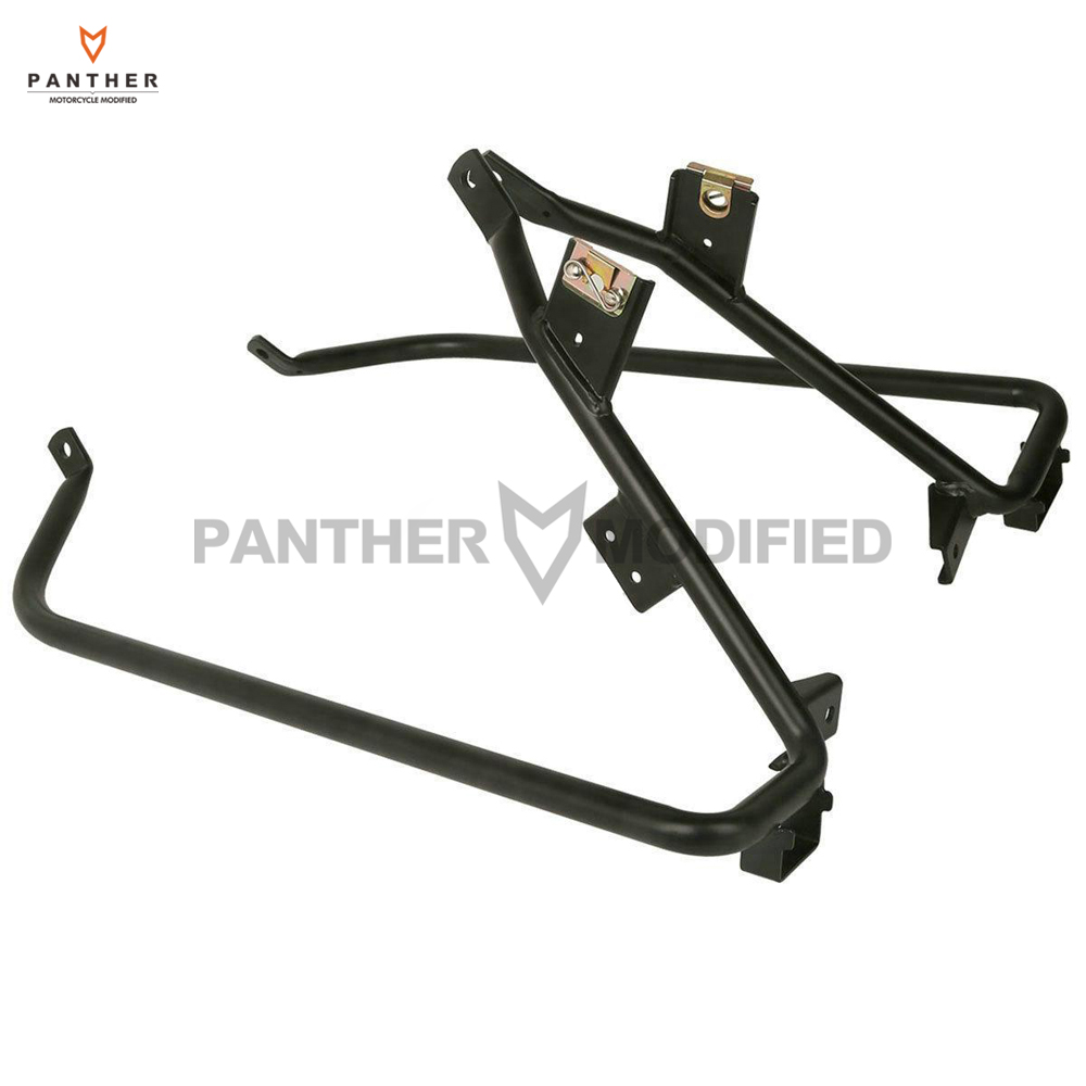 Black Motorcycle Saddlebag Support Brackets Case for Harley Touring Road Street Glide Ultra FLTR FLHX saddlebag lid rack top rail w light for harley touring ultra street electra glide 94 13
