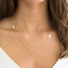FAMSHIN New Hot Double layer Peace Pigeon Necklace  Layered Simple Birds Necklace Clavicle Chains Charm Womens Fashion Jewelry