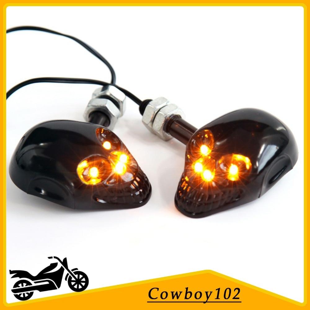 Black Motorcycle Skull LED Turn Signal Light 12V Indicator Amber Lamp Universal Bobber Chopper Bike Flasher Blinker Lighting