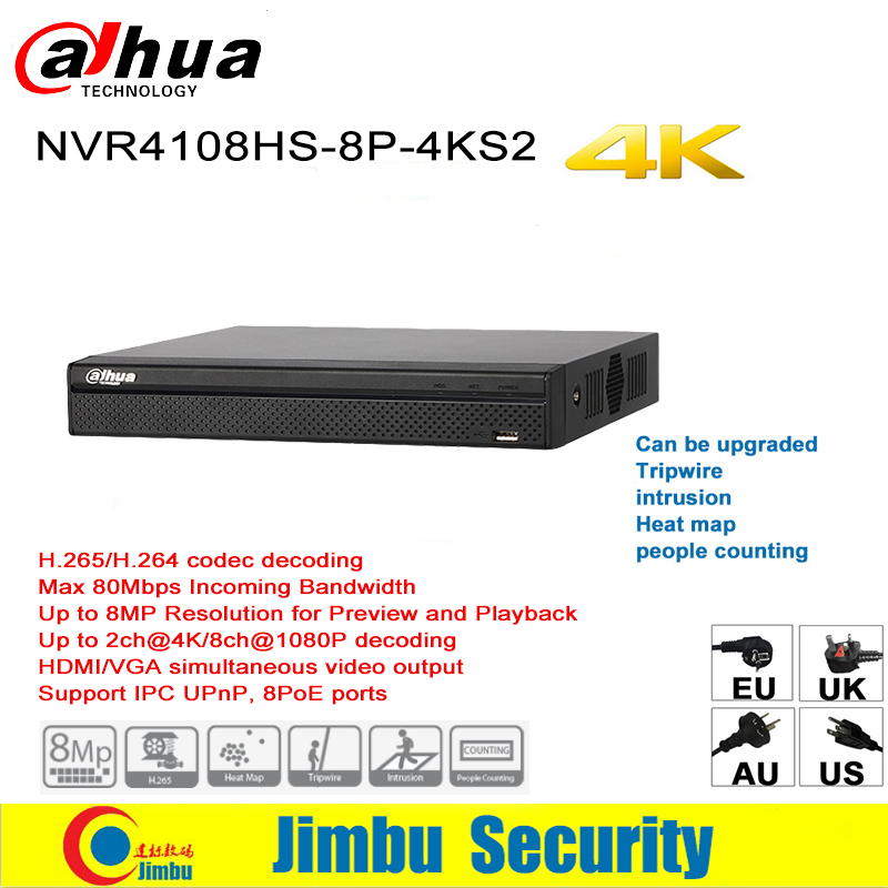 Dahua NVR 4K Network Video Recorder NVR4108HS-8P-4KS2 8CH H.265 / H.264 Up To 8MP 8 poe ports Easy4ip IVS Compact 1U Lite new hot sell dahua 8ch nvr h 264 1080p network video recorder nvr4108 8p smart 1u support english firmware and onvif