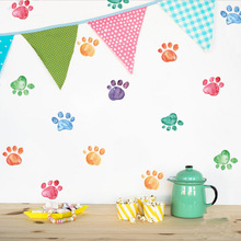 Nordic ins wall sticker PVC Kindergarten environment layout Home party decoration DIY color paw print Background wall sticker nordic style hand drawn diy animals head hipsters pvc wall sticker