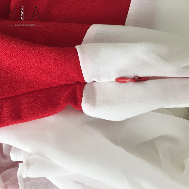 Dress Chiffon Women Elegant White Red Black Color Block Short Sleeve Pleated 2017 Cowl Neck Patchwork Ruched Summer Office Dress