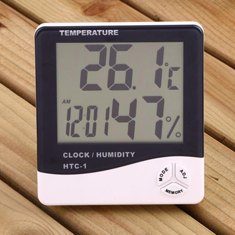 Numérique jauge horloge lcd thermomètre hygromètre température hygromètre intérieur maison maison thermomètres batterie incluschina