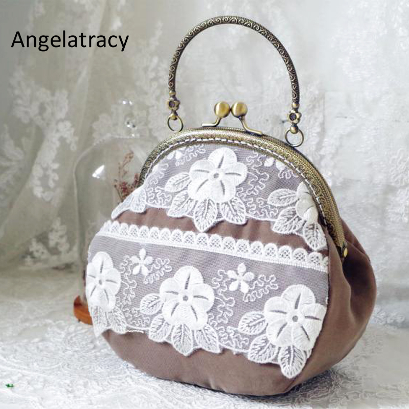 Angelatracy Lace Bags for Women Brown Metal Frame Handbag Vintage Coin Purse for Women Messenger Bags Mini Bags Floral Lace New