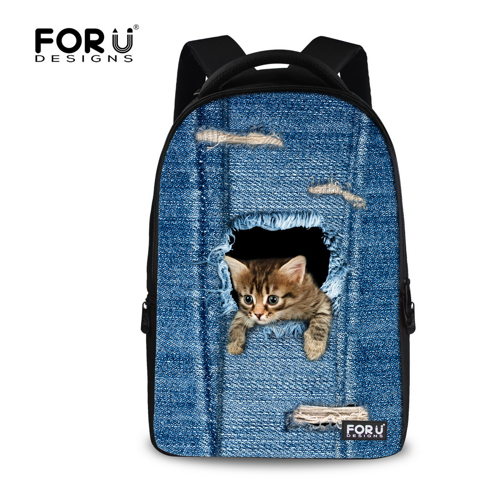 Cute 17 inch Animal Cat Dog Printing Teenager Girls School Backpacks Large Capacity Women Laptop Backpack Ladies daypack Bagpack cute 18 inch animal cat dog printing