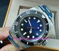 43mm GEERVO blue&black dial Black ceramic Bezel Automatic Self Wind movement Men Watch luminous Mechanical watches 843A