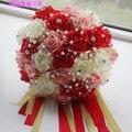 2017 Невесты Свадебный Букет Новый Дешевые Кот и Розовый и Красный Свадебные Цветы Свадебные Букеты Искусственные Свадебный Букет Роз