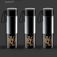 Yooap High quality Double Layer Water Bottle With Handle,Tea Infuser Cap BPA Free Protable Healthy Glass Tea Bottle Gift for Men