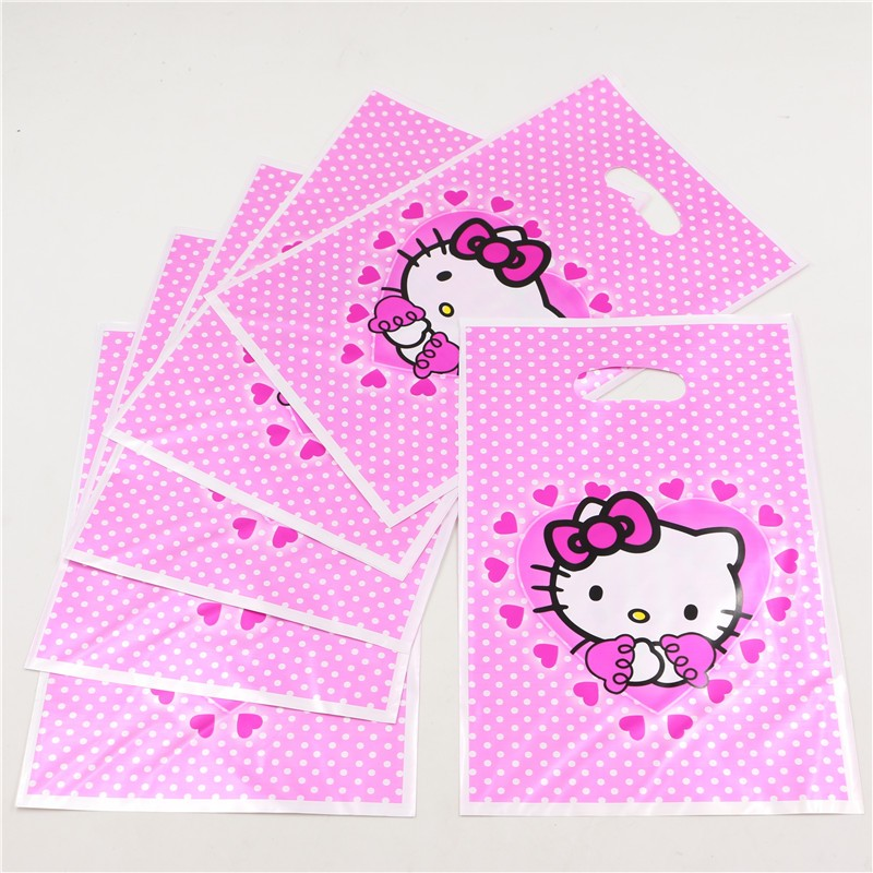 10pcs lot Gifts Bags Plastic Disposable Birthday Party Decoration Hello  Kitty Loot Candy Bag Kids Favors Baby Shower Supplies-in Gift Bags    Wrapping ... dd8f6e27e4212