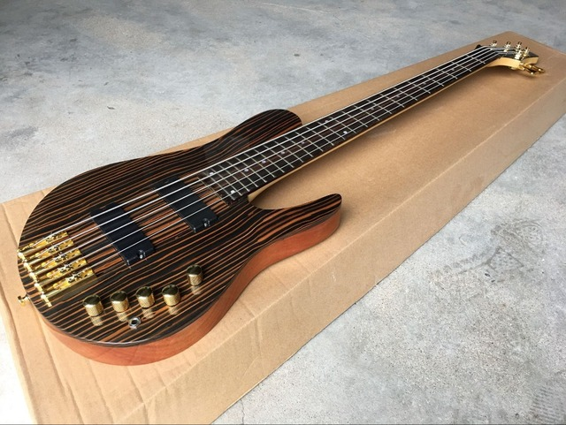 high quality Handmade 5-String  Electric Bass Guitar,One piece neck and one piece body guitar, High quality