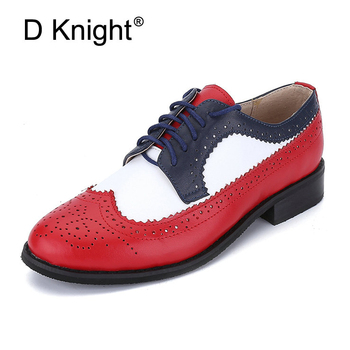 Genuine leather flat shoes women US size 14 handmade Color matching leather shoes vintage British style oxford shoes for women