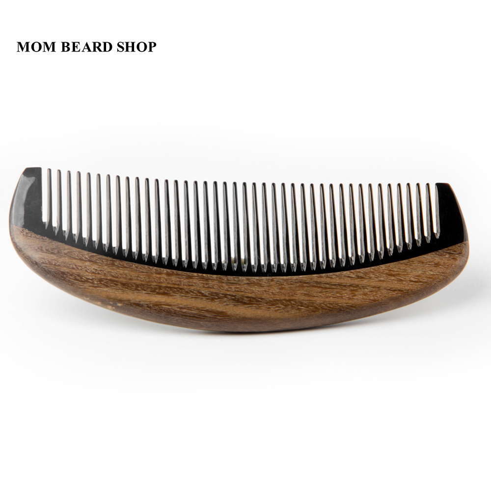 High Quality Natural Ox Horn Comb Wood Green Sandalwood Wooden Pocket Mustache Comb Beard Hair Style Tool For Hair 1PCS ti30 wooden comb natural sandalwood green sandalwood comb fish shaped comb