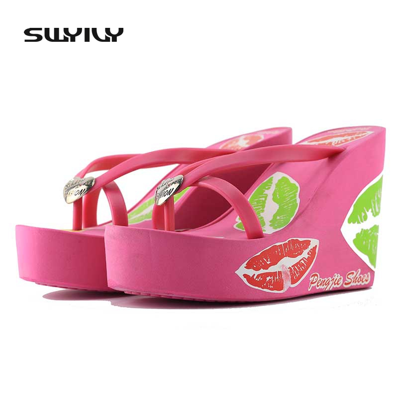 38cd0bc98 Wedges Platform Shoes Women Lips Print High Heels Foam Slippers Female  Summer Flip Flops Beach Sandals Comfortable Zapatos Mujer-in Flip Flops  from Shoes on ...