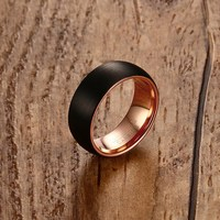 Mprainbow Mens Dome Rings Black Tungsten Carbide Ring 8mm Engagement Wedding Band Rose Gold Plated