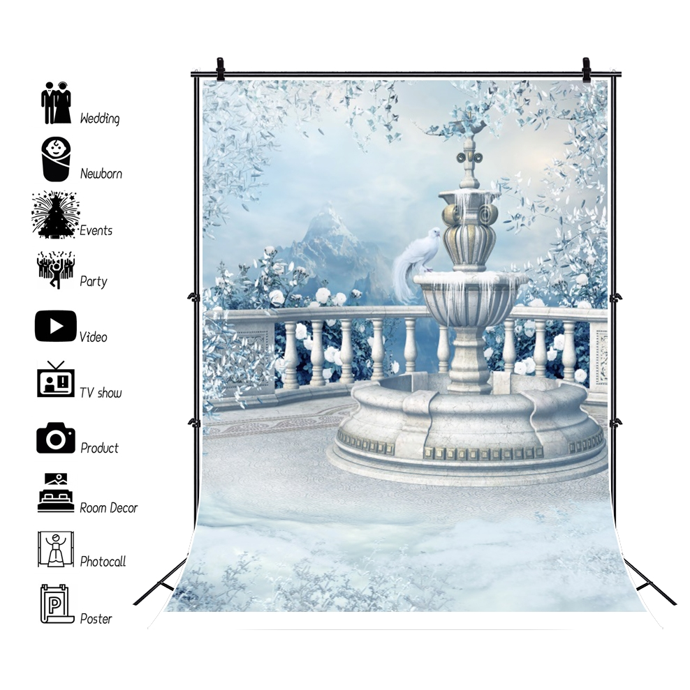 Laeacco Winter Garden Frozen Fountain Flowers Snow Dreamy Scenic Photography Backdrops Photographic Backgrounds For Photo Studio