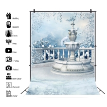 Laeacco Winter Garden Frozen Fountain Flowers Snow Dreamy Scenic Photography Backdrops Photographic Backgrounds For Photo Studio 10x20ft snow winter scenic photographic theme background hand painted muslin photography christmas backdrops k2020