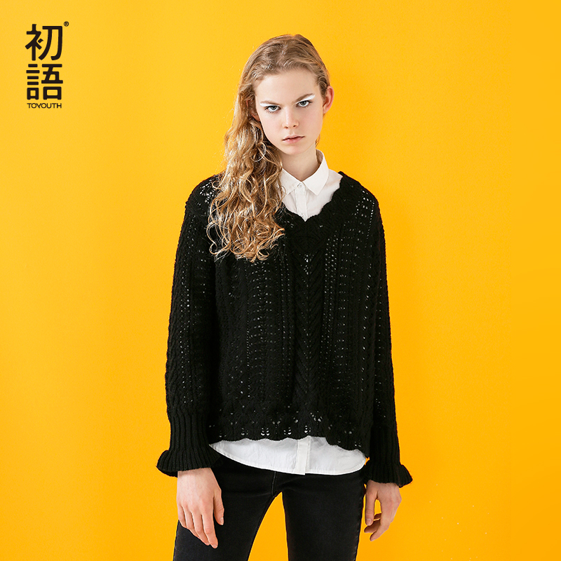 Toyouth Women Sweaters And Pullovers V Neck Hollow Out Women Lolita Knitted Female Tops Long Sleeve