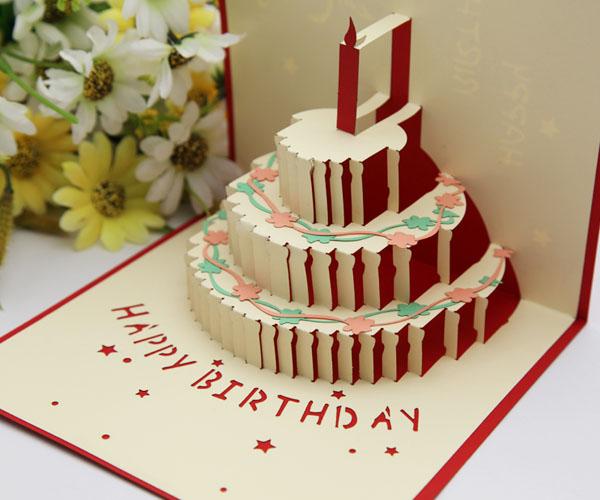 Amato Colore tridimensionale biglietti di auguri di compleanno torta  QR23