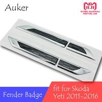 For Skoda Yeti 2011 2012 2013 2014 2015 2016 Door Side Wing Fender Emblem Badge Sticker Trim Original Car styling