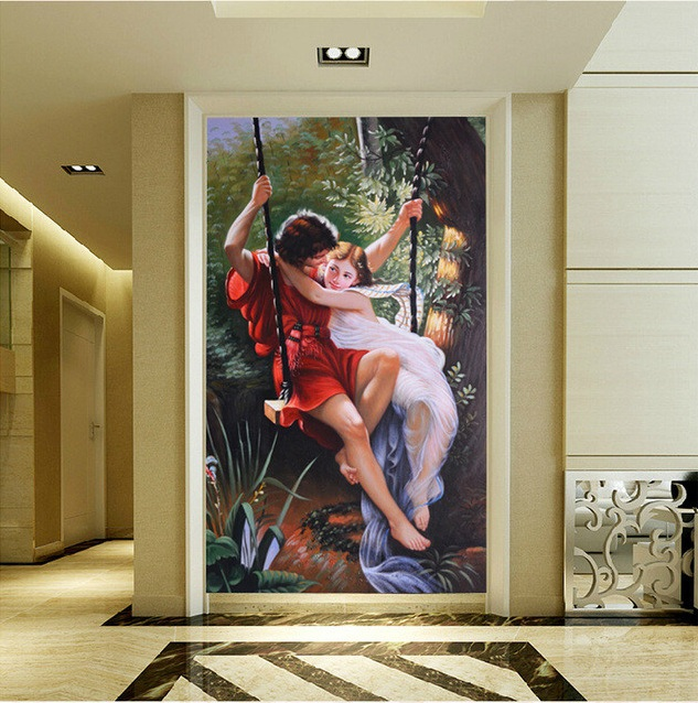 3d room wallpaper custom mural non-woven Wall sticker Couples play on a swing paintings porch photo wallpaper for walls 3d 3d room wallpaper custom mural non woven wall sticker 3 d scenery suspension bridge porch paintings photo wallpaper for walls 3d