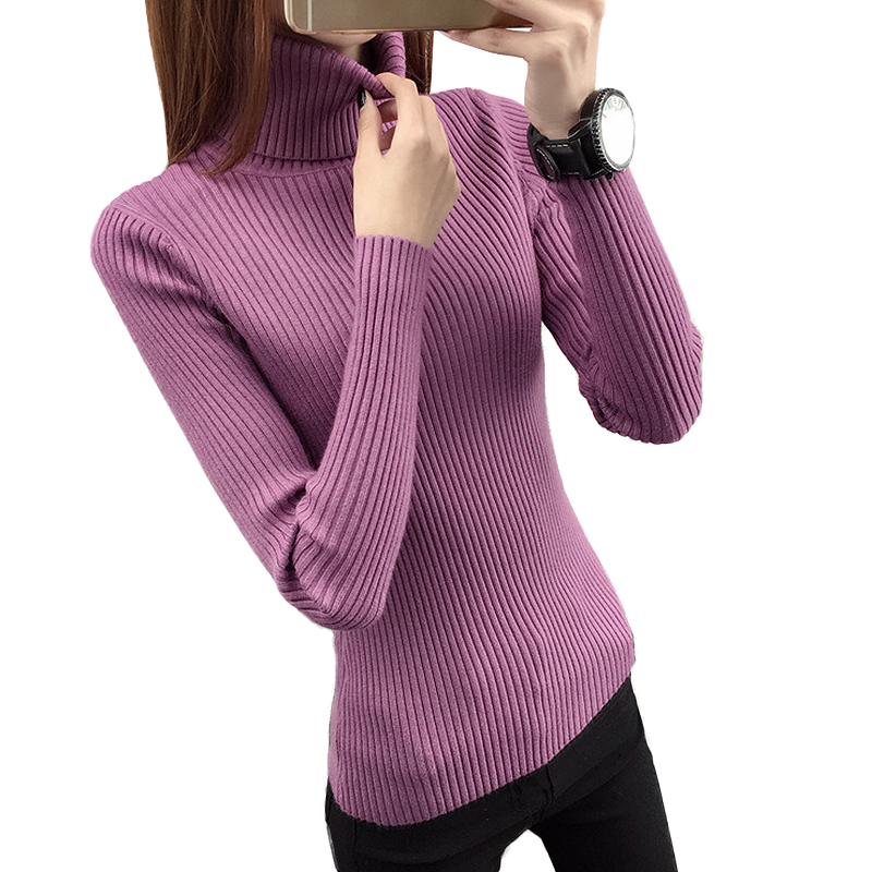 2017 autumn winter Women Sweaters Pullover Warm turtleneck christmas sweater thick slim pullover knitted sweater pull femme