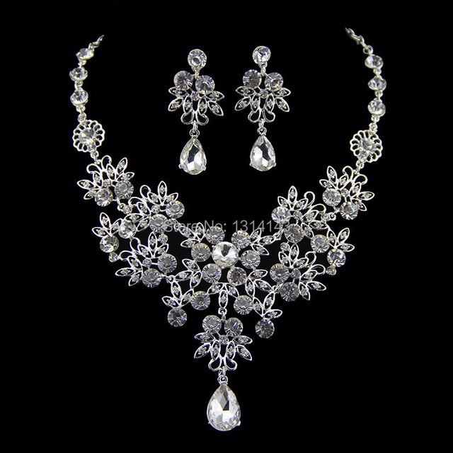 Tl102 envío gratis la aleación collar de la joyería nupcial establece mejor regalo para hermosa novia collar cristalino de la flor de la boda de accesorios