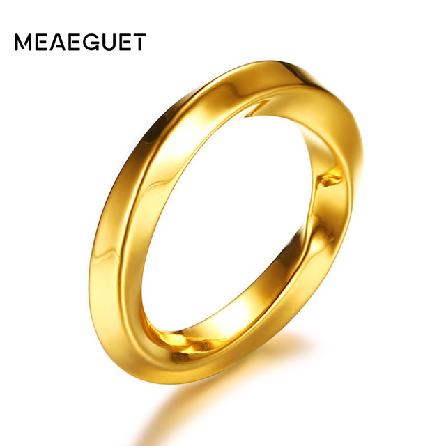 Meaeguet Trendy Gold Color Stainless Steel Twisted Rings For Women