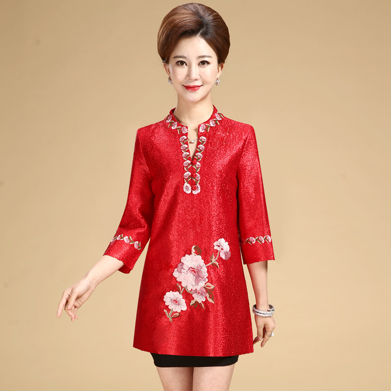New fashion autumn cheongsam style Tang suit top Chinese traditional women clothing top vintage dress plus size qipao blouse in Tops from Novelty Special Use