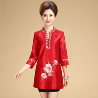 New fashion autumn cheongsam style Tang suit top Chinese traditional women clothing top vintage dress plus size qipao blouse