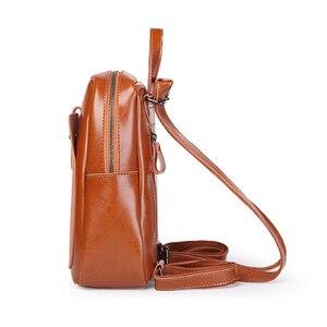 Image 3 - DIENQI Leather Women Backpacks Shoulder Bag Genuine Leather Female Backpack Fashion Schoolbag Vintage Black Ladies Bag Back Pack