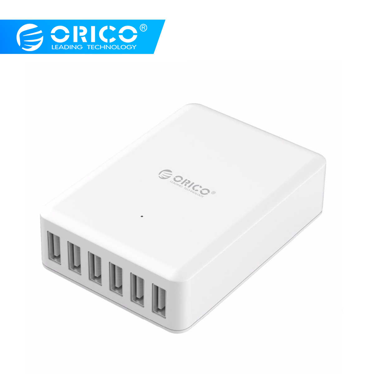 Orico Universal USB Charger 6 Port Smart Charger 5V2. 4A Max Output 50W Ponsel Desktop Charger untuk Iphone Samsung Xiaomi