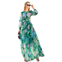 Back Single Breasted Long Sleeve Green Printed Long Dress With A Scarf 170524UL01