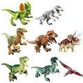 8 pçs/lote dinossauros de Jurassic Park mundo Mini figura filme Kid brinquedo do bebê blocos define modelo Minifigures brinquedos tijolo