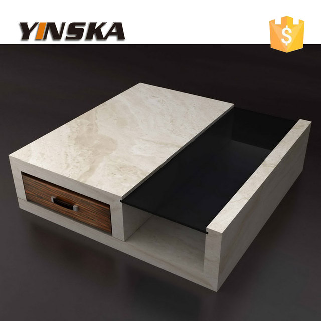 Arabic Popular Ebony Veneer Travertine Coffee Table, 4 Pieces Marble Tea  Table