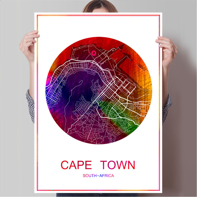 World City Map CAPE TOWN South Africa Print Poster On Paper Or Canvas Wall Sticker Bar Pub Cafe Living Room Home Decor
