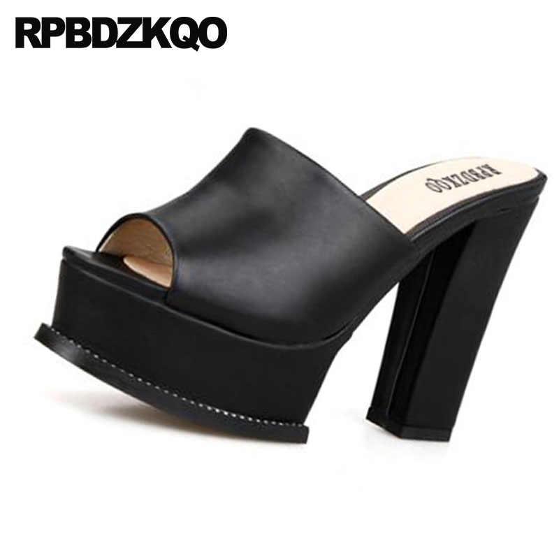 e0c5dd10966 ... chunky black fetish platform women slides sandals plus size high heel  wide fit shoes ladies 43 ...