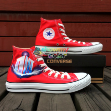 Red Canvas Shoes Hand Painted Converse Chuck Taylor Design Custom Police Box Athletic Sneakers High Top for Gifts