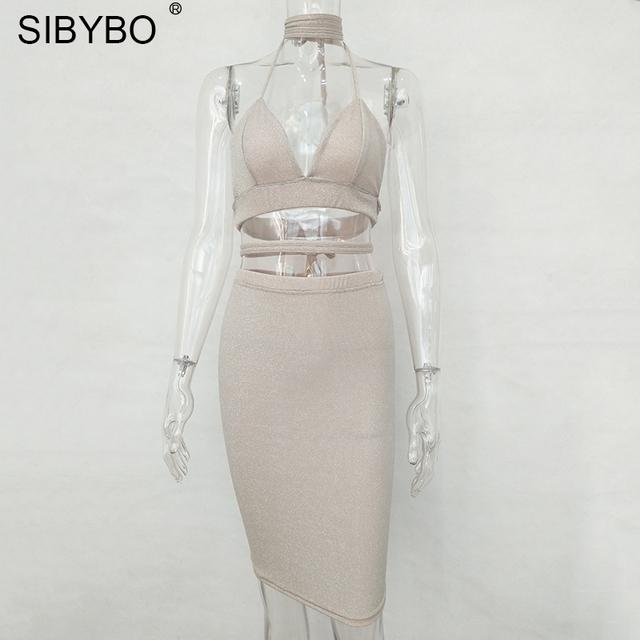 Sexy Sparkly Bandage Bodycon Dresses 2017 Halter Deep V Neck Lace Up Crop Top Two Piece Set Summer Party Dresses Vestidos