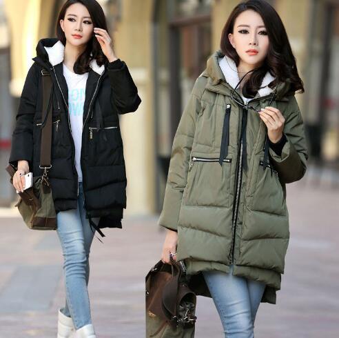 Для беременных зимняя куртка в стиле милитари Длинные свободные с капюшоном модный утепленный пуховик для беременных Для женщин пальто для...