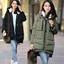 Для беременных зимняя куртка в стиле милитари Длинные свободные с капюшоном модный утепленный пуховик для беременных Для женщин пальто для беременных верхняя одежда куртки